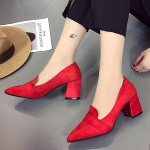 Fashion Elegant Office Point Toe Mid-Heel Chunky Shoes