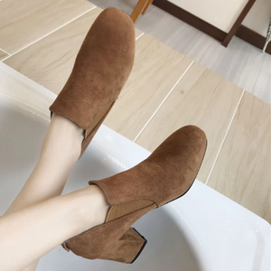 Solid Color Square Head Suede Chunky Ankle Boots