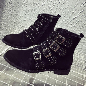 Fashion Casual Round Toe Buckle Rivet Side Zipper Boots