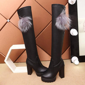 Euramerican Style Pure Color Chunky Heels Thigh-High Boots