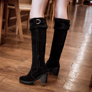 Women's Fashion Casual Fluffy Solid Color Knee Boots