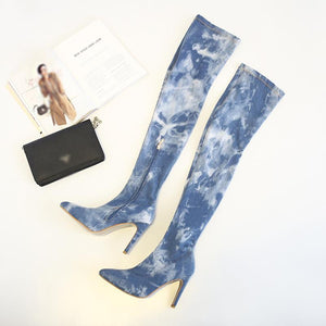 Euramerican Style Pointed Toes Stiletto Heels Thigh-High Boots