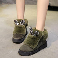 Euramerican Style Rabbit Shape Pure Color Snow Boots