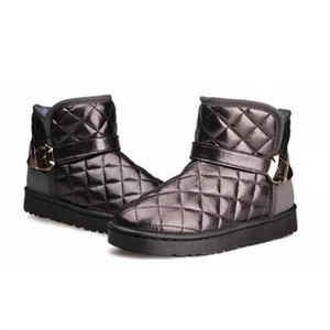 Women's Fashion Casual Solid Color Leopard Wedge Ankle Boots