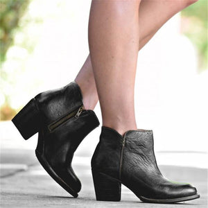 Euramerican Style Gradient Color Chunky Heels Ankle Boots