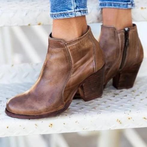 Euramerican Side Zipper Chunky Heels Ankle Boots