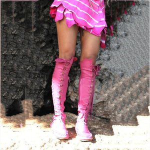 Women's European And American Fashion Cross Straps Round Head Over The Knee Boots