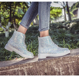 Casual Lace-Up Low-Heeled Bright Sequins Thin Cotton Martin Boots