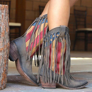 Women's European And American Retro Color Matching Pointed Fringed Boots