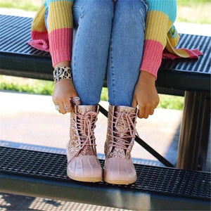 Fashion Paillette Splicing Lace-Up Ankle Boots