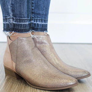 Fashion Mixed Color Side Zipper Low-Heel Ankle Boots