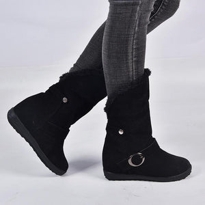 Daily Belt Buckle Pure Color Round Toes Snow Boots