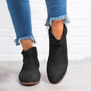Gentlewomanly Side Zipper Pure Color Ankle Boots