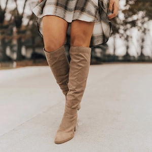 Plain High Heeled Velvet Date Outdoor Knee High High Heels Boots