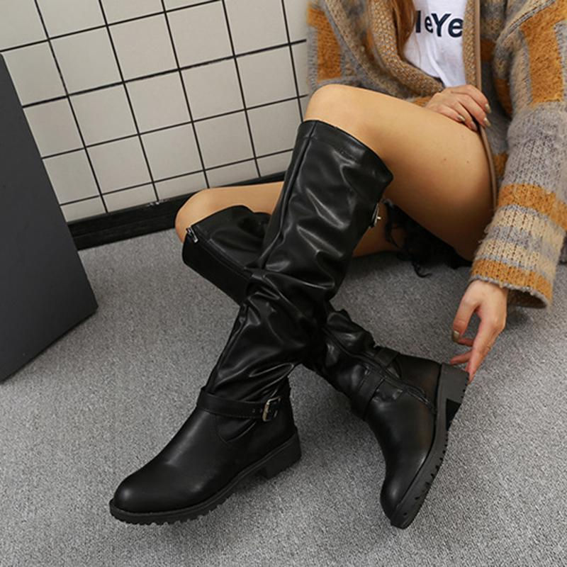 Fashion Belt Buckle Side Zipper Pure Color Leather Boots