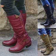 Distressed Chunky Round Toe Boots