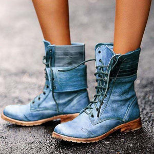 Distressed Round Toe Martin Boots