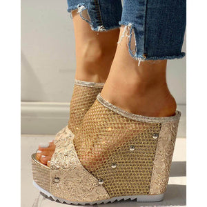 Fashion casual hollow wedge slipper