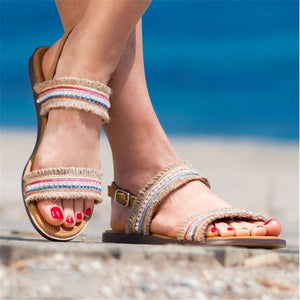 Colored Woven Flat Sandals