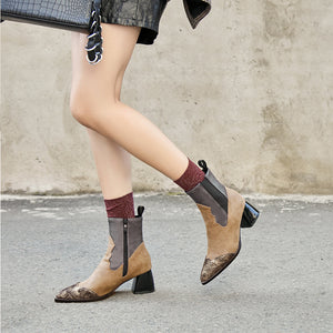 Retro mixed color side zipper pointed toes martin boots