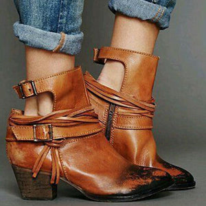 Classic buckle side zipper ankle boots