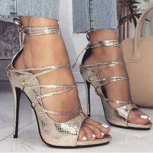 Snakeskin Lace-Up Thin Heeled Sandals