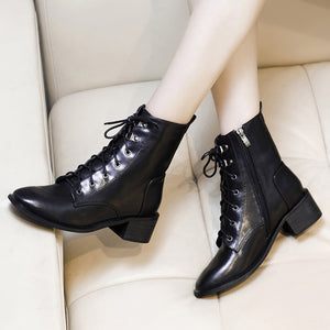 Women Square Toe Mid Heel Lace-up Boots