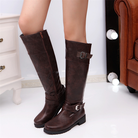 Women's casual solid color belt buckle boots