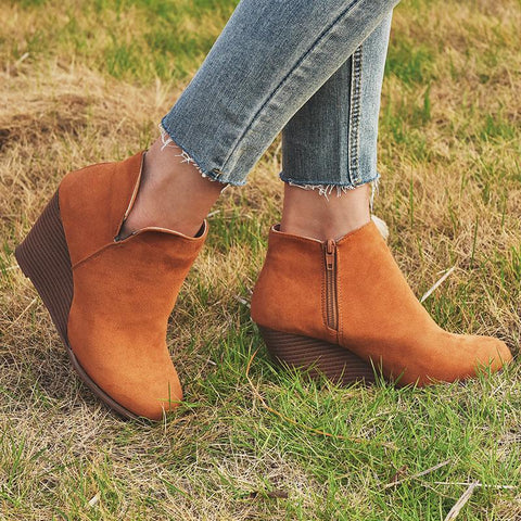 Women's fashion solid color suede high heel ankle boots