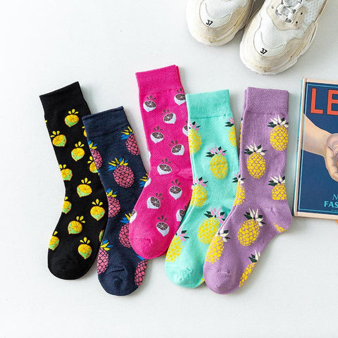 Cute fruit candy-colored cotton mid socks