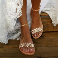 Bohemian Flat Ankle Strap Peep Toe Date Travel Wedding Flat Sandals