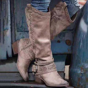 Ladys vintage abrasive leather with chunky heels high boots