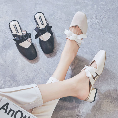 Women's baotou versatile bow sandals and slippers