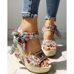 Fashion wild casual floral bow wedge sandals