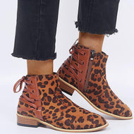 Fashion Women Pointed Toe Leopard Solid Color Ankle Boots