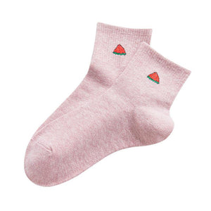 Preppy style fruit embroidery cotton mid socks
