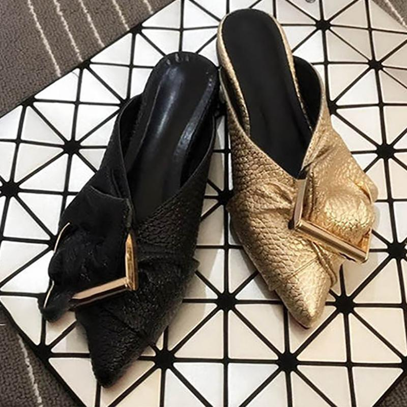 Fashion Casual Baotou Pointed Metal Slippers