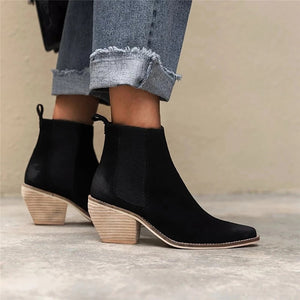 Women's Pointed Thick Heel Chelsea Boots