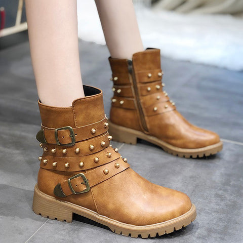Women's fashion solid color rivet belt buckle ankle boots