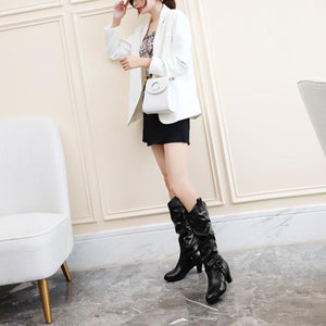 Fashion Solid Color Thick High Boots