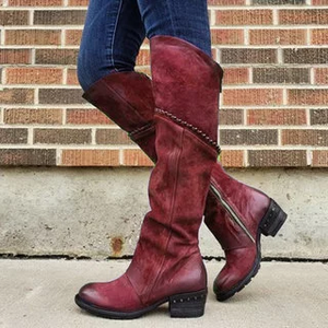 Women's retro side zipper boots