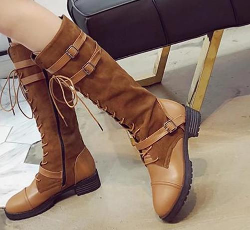 Women's Fashion Round Head Solid Color Belt Buckle Boots