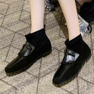 Women's fashion solid color square head suede ankle boots