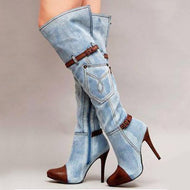 Denim High Heel Fashion Belt Buckle Over The Knee Boots