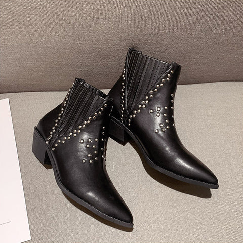 Fashion pointed rivet middle heel women's boots