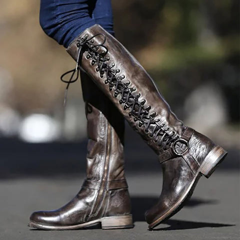 Women's solid color lace high boots
