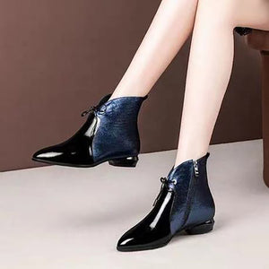 Women's patent leather pointed head color matching Martin boots