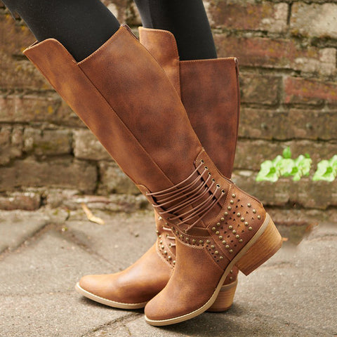 Fashionable round head rivet high tube women's boots