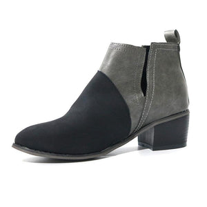 Fashion Women Color Matching Round Toe Boots