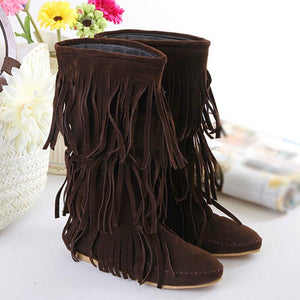 Casual Tassel Design Pure Color Flat Buskins Boots